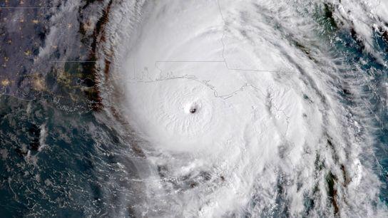 Estima-se que, em 2018, o Furacão Michael (nesta imagem mostrado como uma tempestade de categoria 4) ...
