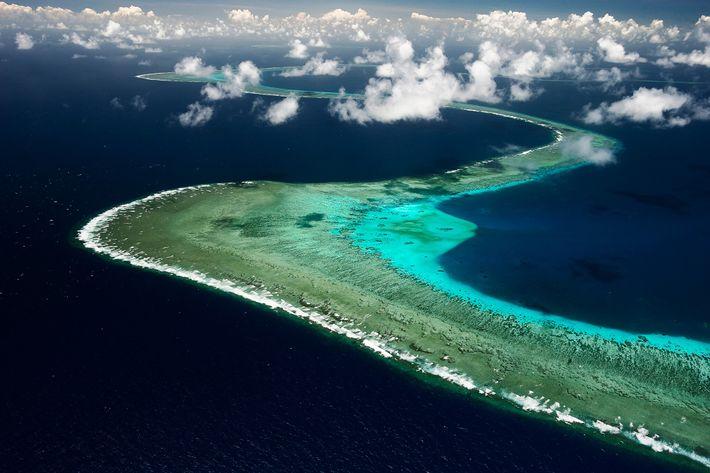 Grande Barreira de Coral da Austrália vista de cima. Líderes das 14 nações querem tornar os ...