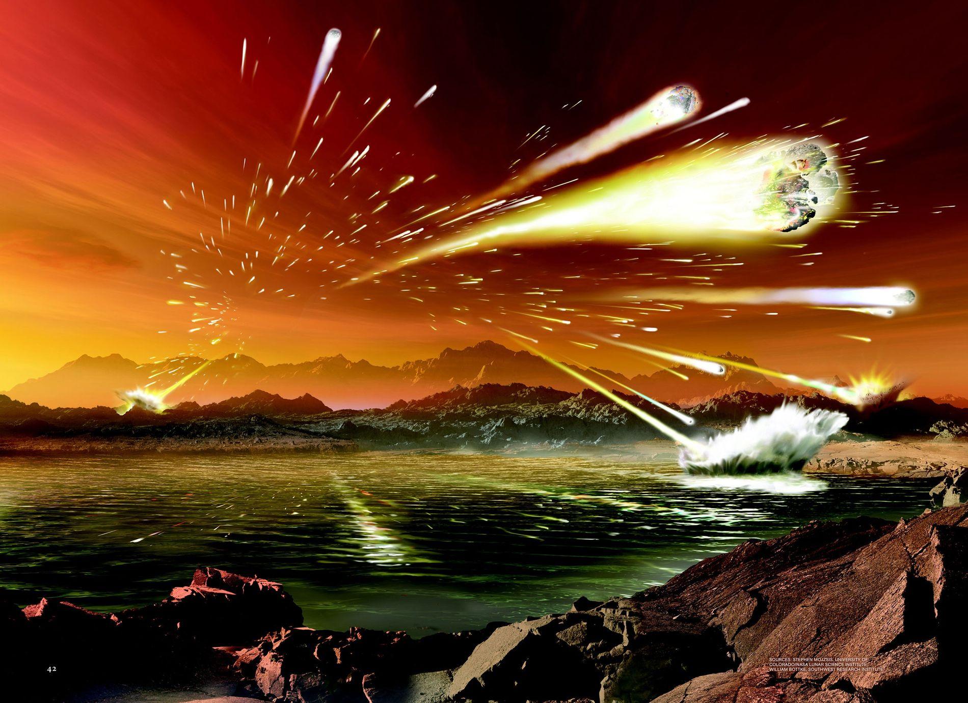 Ilustração mostra a aparência da Terra há 3,8 a 4 bilhões de anos, durante uma teórica ...