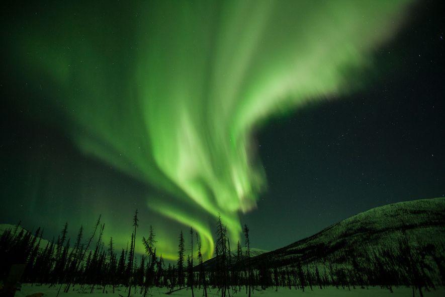 Cortinas de luz brilhantes adornam o céu noturno no Alasca. Conhecidas como aurora boreal, ou aurora ...