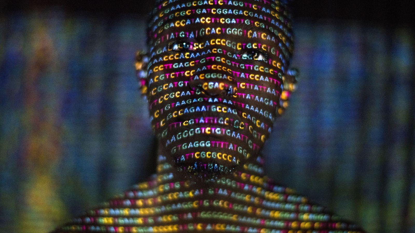 As quatro letras do código genético - A, C, G e T - são projetadas em ...