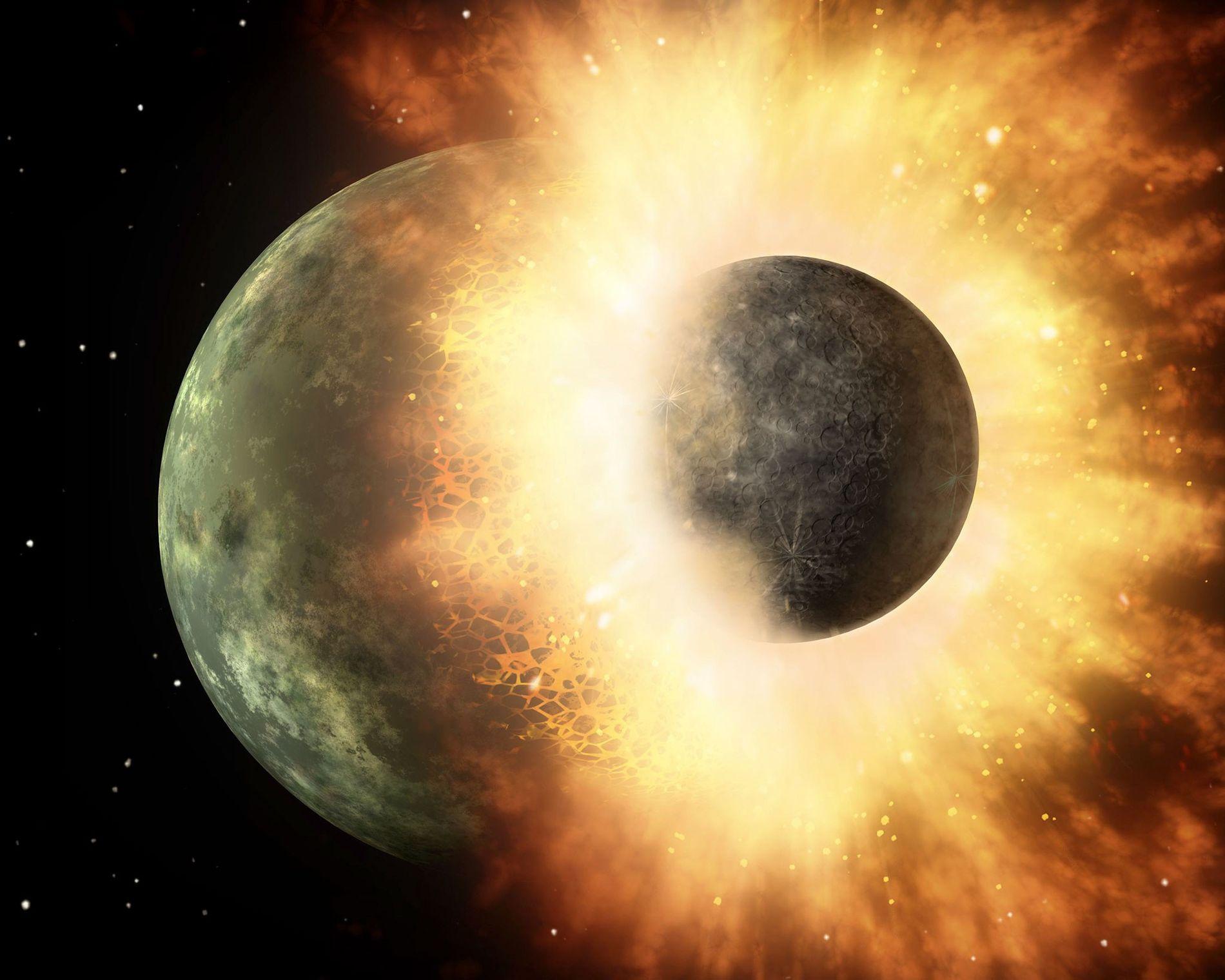 Objeto do tamanho da nossa lua se choca contra um planeta do tamanho de Mercúrio em simulação da Nasa. É improvável que a Terra tenha o mesmo destino no Sábado.
