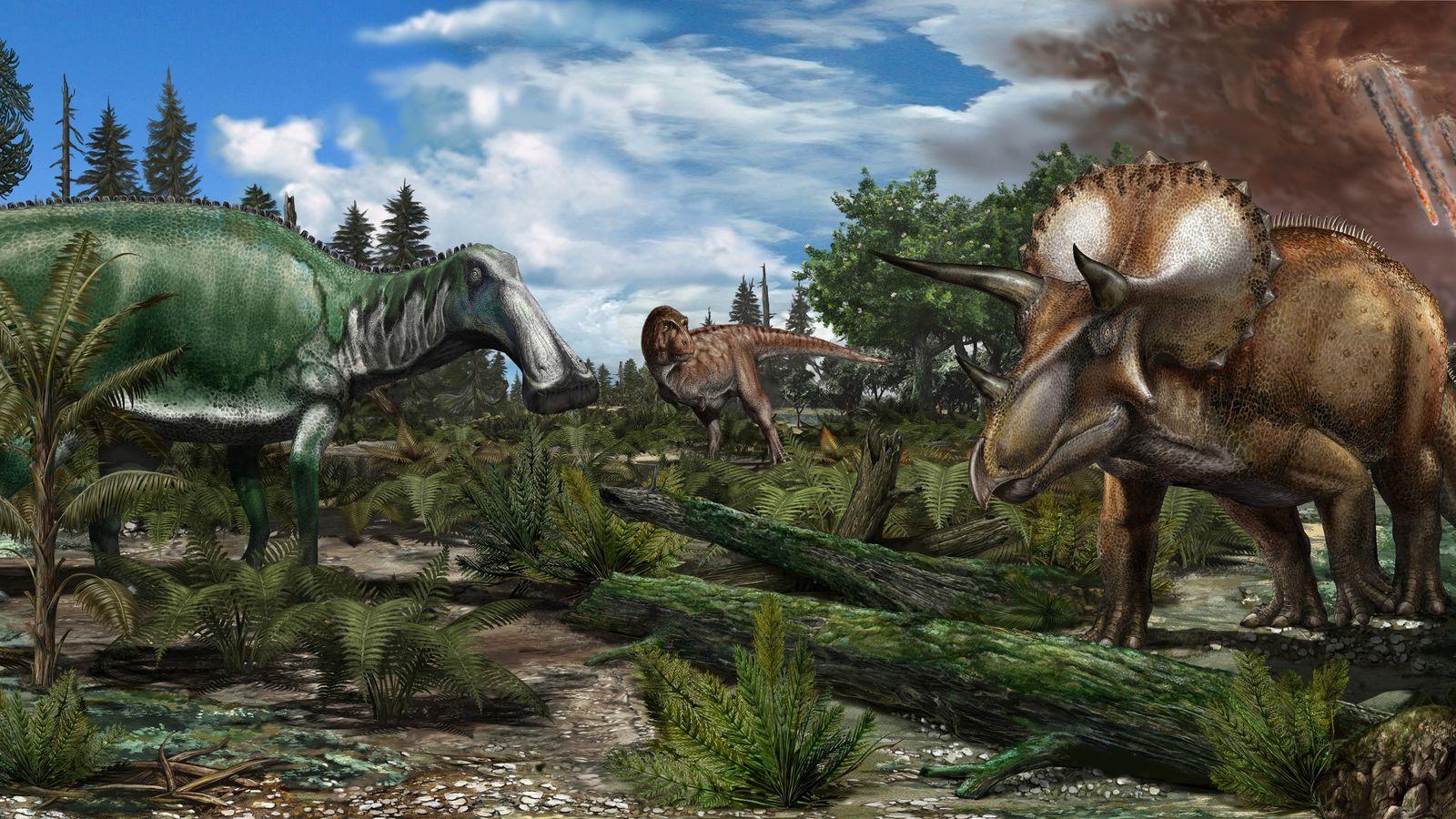 Reconstrução de uma região inundada na América do Norte há cerca de 66 milhões de anos, ...