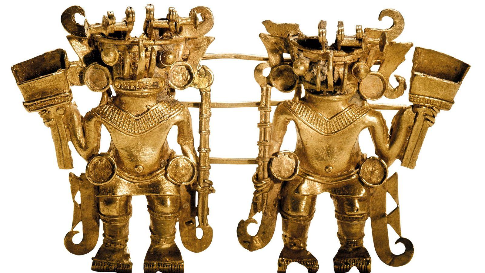 Os gêmeos dourados incorporam a delicadeza e a habilidade manual dos taironas. As figuras de guerreiro ...