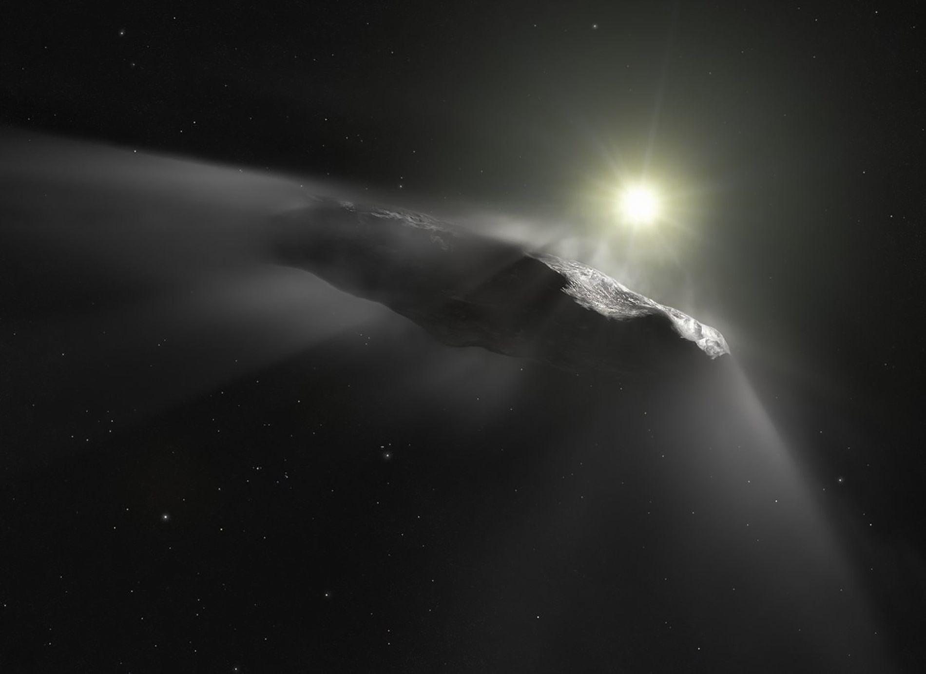 O asteroide 'Oumuamua, de formato estranho, visto em ilustração, foi a primeira rocha espacial a ter ...