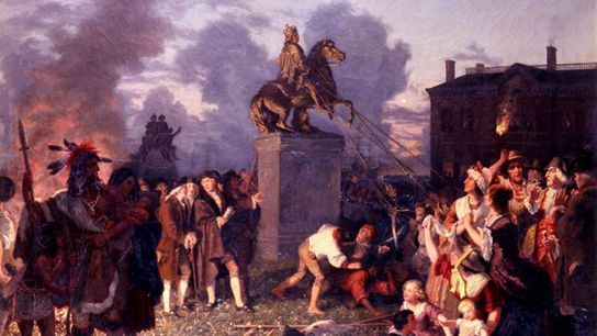 O rei George III cai de seu pedestal nesta versão romantizada do evento de 9 de ...