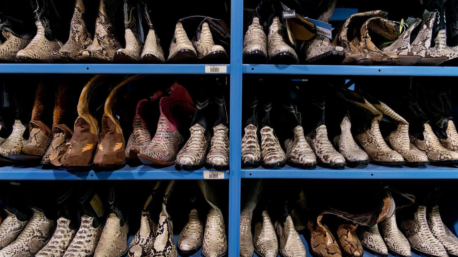 Os oficiais do Serviço de Pesca e Vida Selvagem dos Estados Unidos confiscaram essas botas de ...