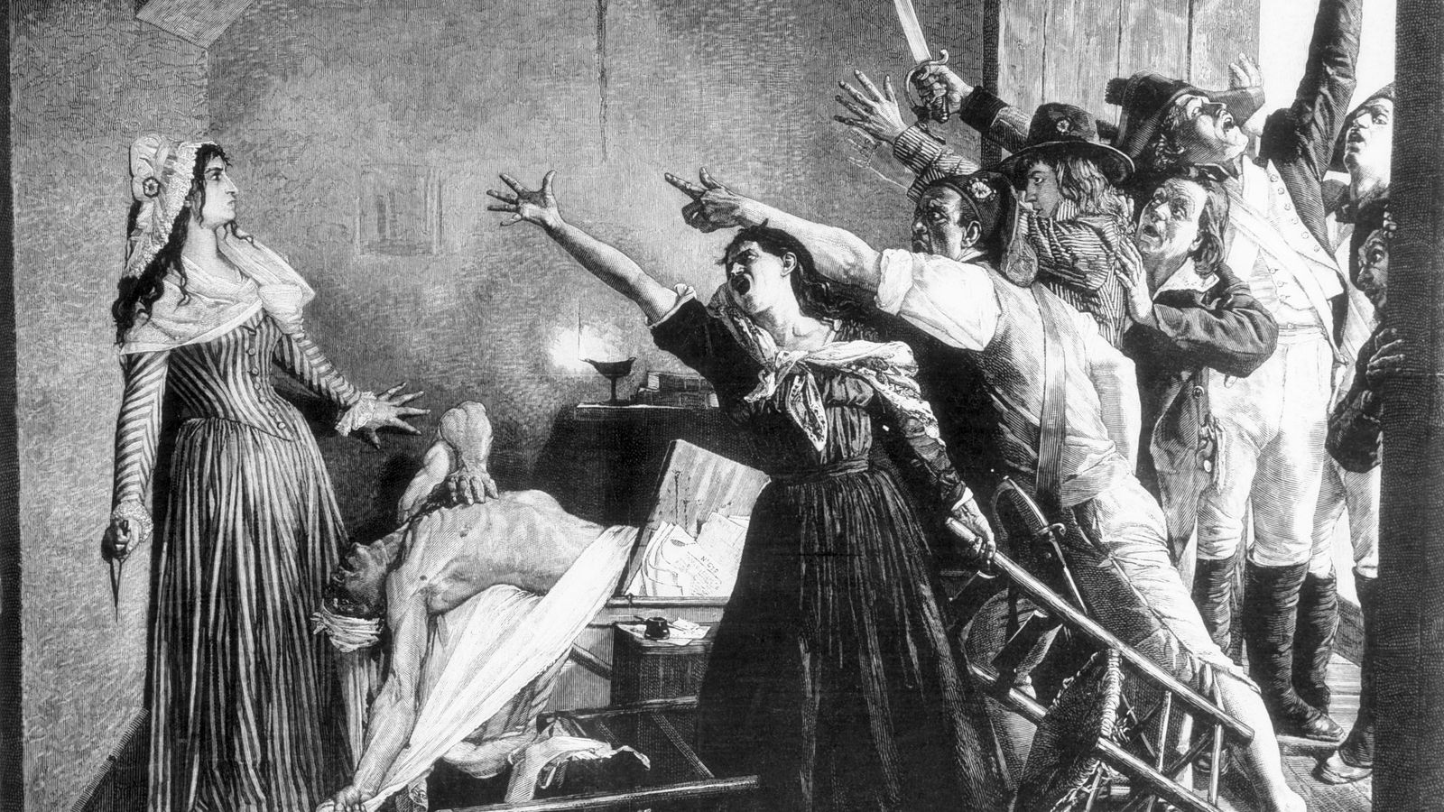 Esta gravura do século 19 retrata o momento após o assassinato do revolucionário francês Jean-Paul Marat ...
