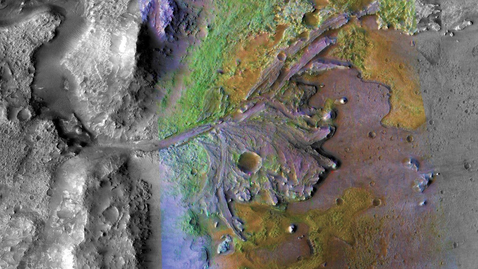 O rover Mars 2020 da NASA está programado para pousar na cratera Jezero, uma depressão com ...