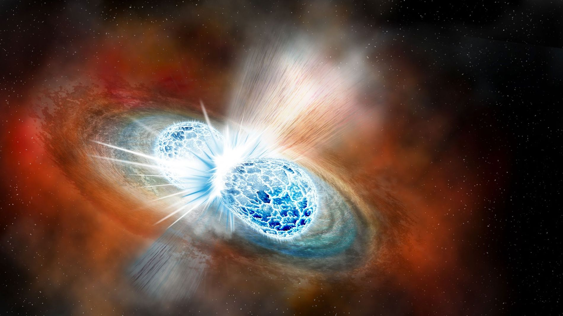 Ilustração de duas estrelas de nêutrons que se colidem em um fenômeno explosivo chamado kilonova. Em ...