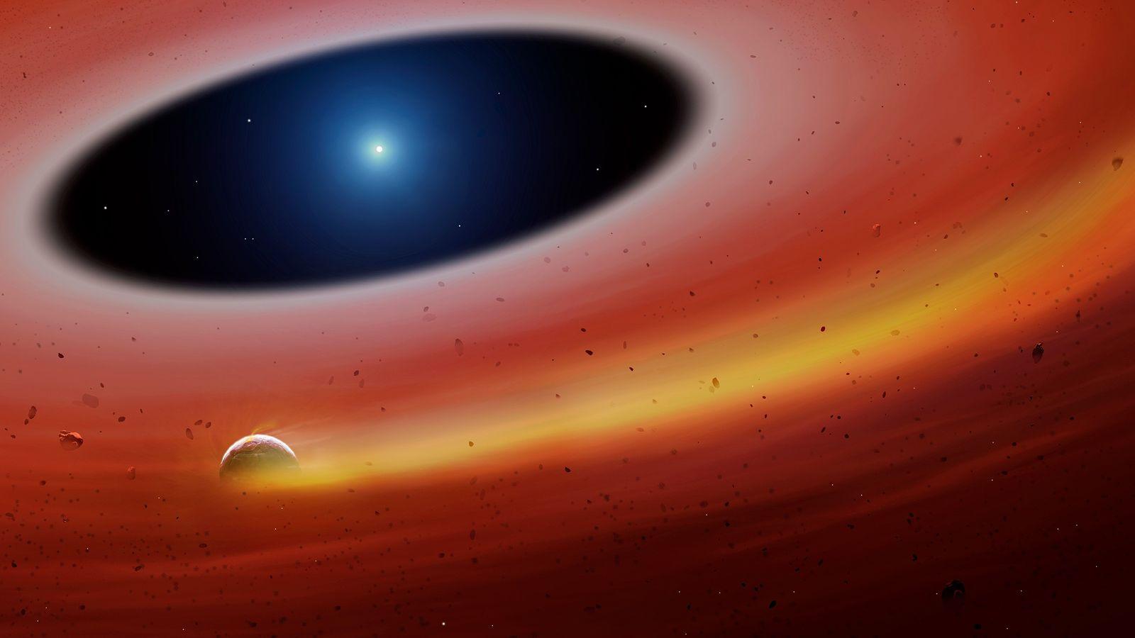 Um fragmento planetário orbita uma estrela anã branca em uma ilustração do sistema recém-descoberto.