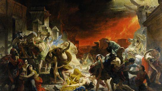 """Pintado em meados dos anos 1800, """"O último dia de Pompeia"""" ilustra o imaginário de um ..."""