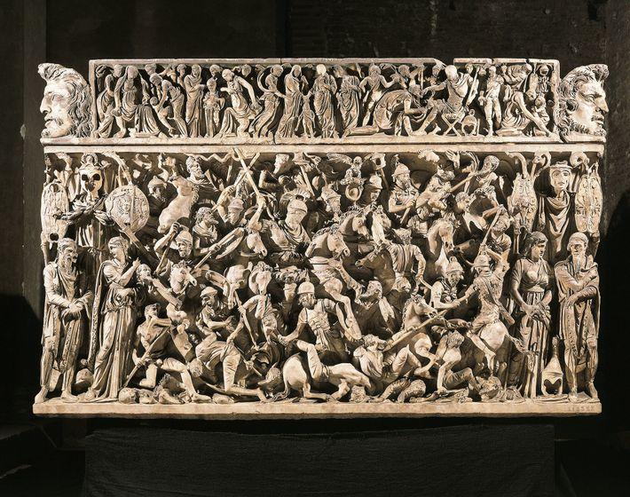 A natureza violenta das tribos germânicas era um tema popular na arte e literatura romanas. Um ...