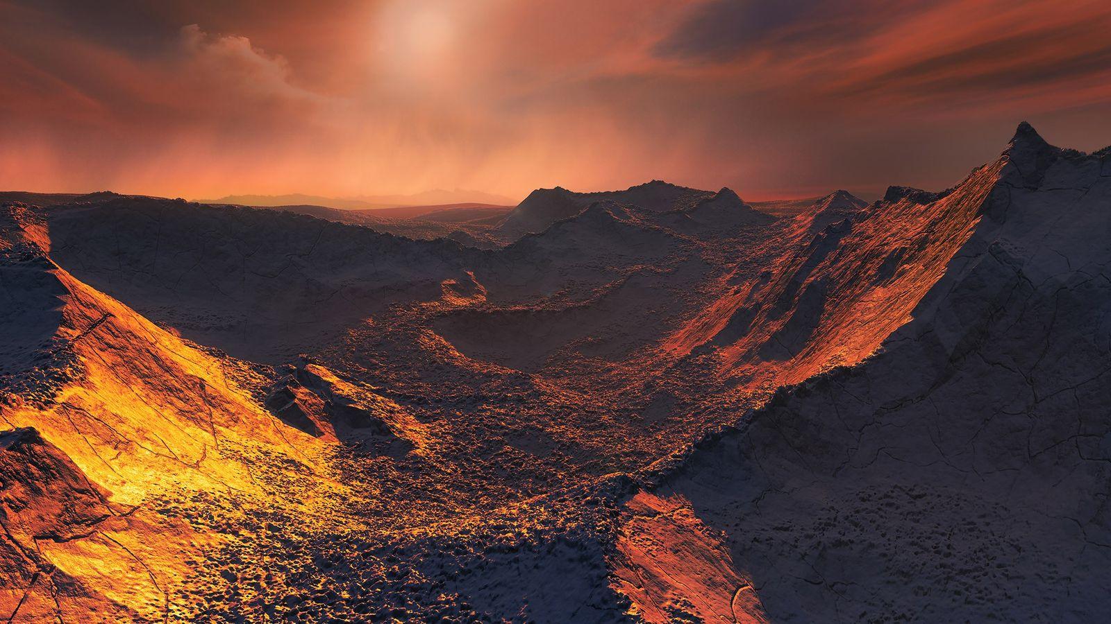 Uma fraca estrela vermelha se eleva sobre a paisagem nesta ilustração do planeta recém-descoberto.