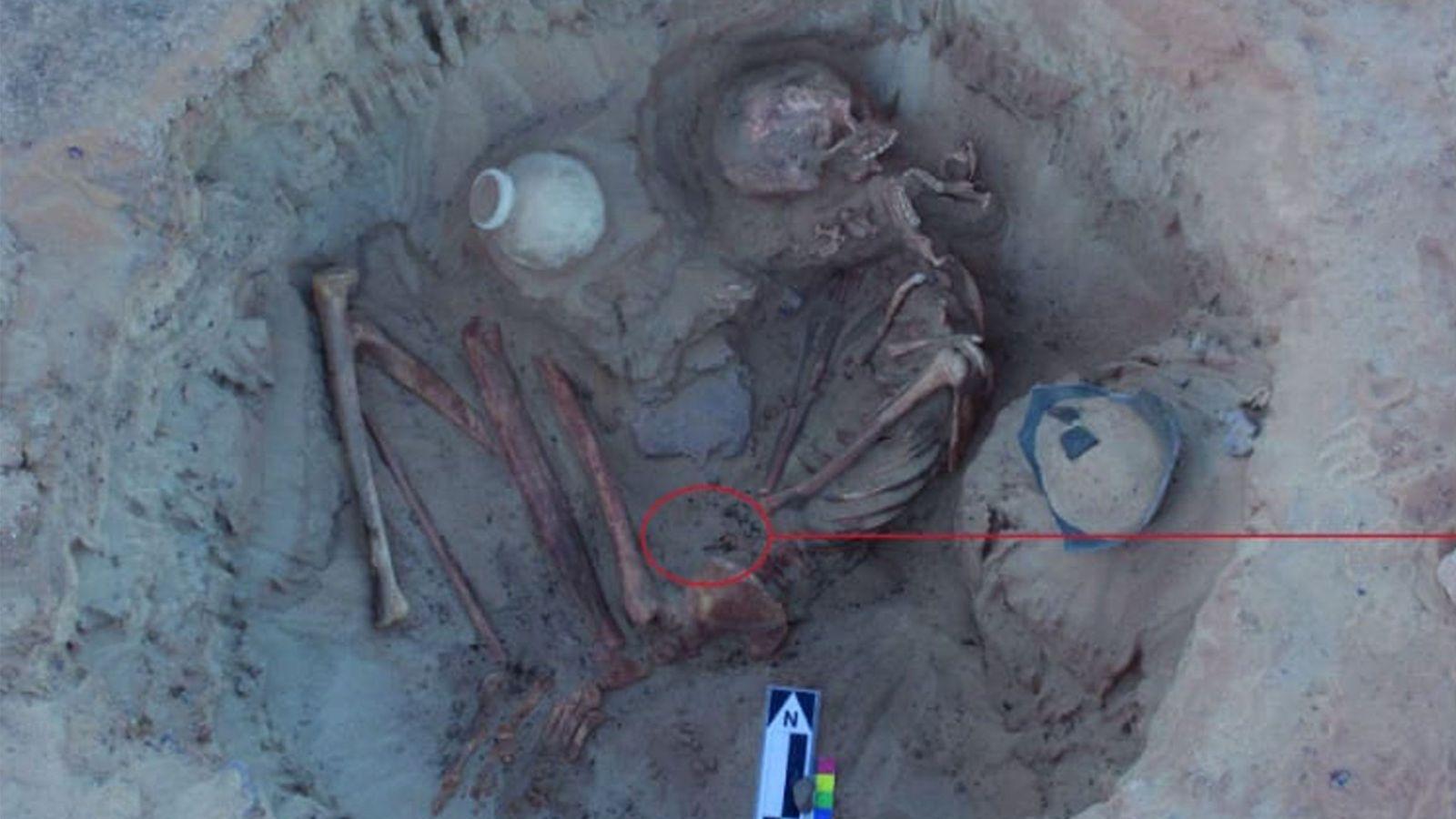 O esqueleto de uma mulher antiga e seu feto foram escavados perto de Assuão, no sul ...
