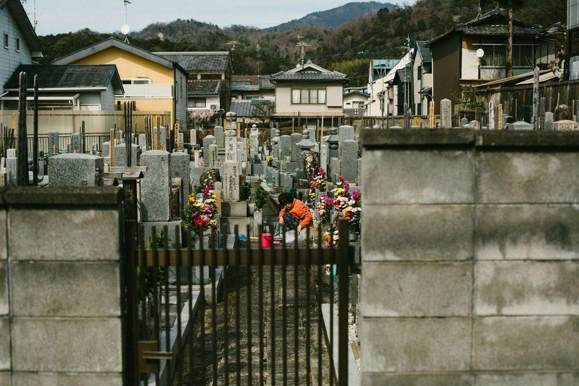 Uma mulher homenageia seus ancestrais no cemitério de uma comunidade. Uma ohaka mairi (visita ao túmulo) ...