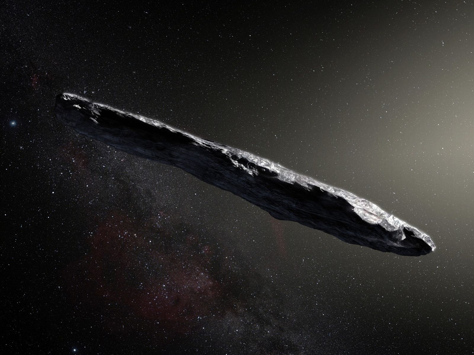 Esta representação mostra o primeiro objeto interestelar conhecido por atravessar o Sistema Solar: 'Oumuamua. O objeto ...