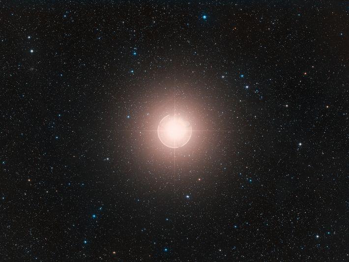 Esta imagem de Betelgeuse, uma das estrelas mais brilhantes do céu, é uma composição colorida formada ...