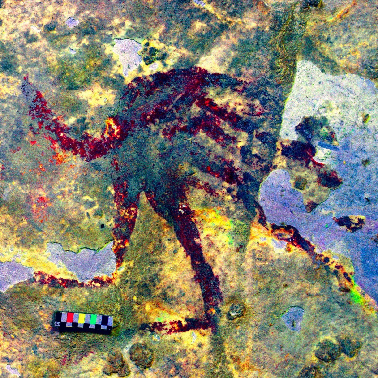 Nas paredes de uma caverna no sul de Sulawesi, uma figura humanoide de aproximadamente 12,7 centímetros ...