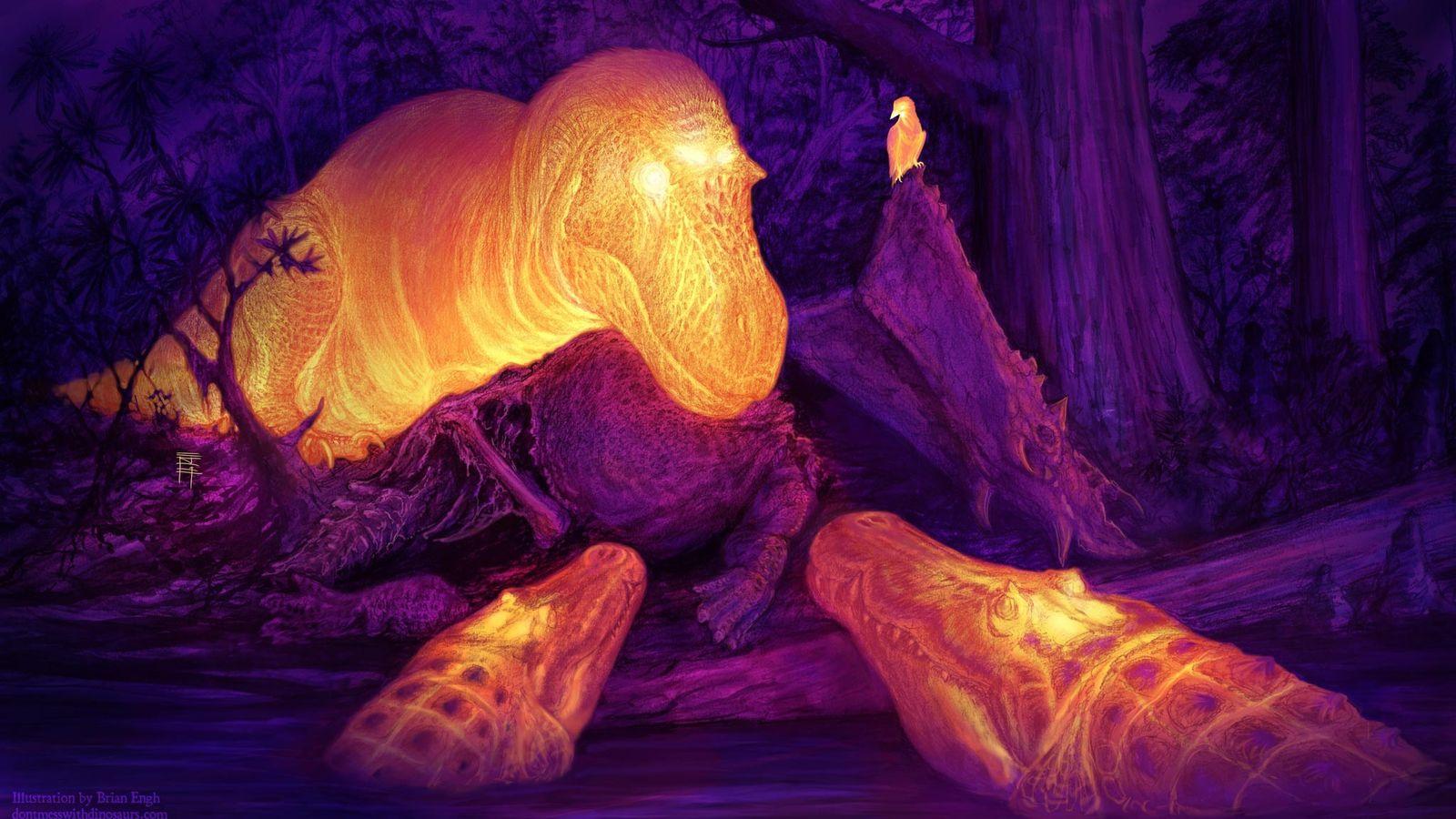 A reconstrução desse artista imagina a América do Norte Cretácea em infravermelho, enquanto o dinossauro Daspletossauro ...