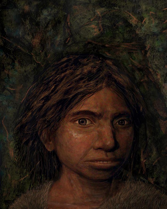 Ilustração mostra como um Denisovano pode ter sido. Pesquisa genética que criou um modelo de um ...