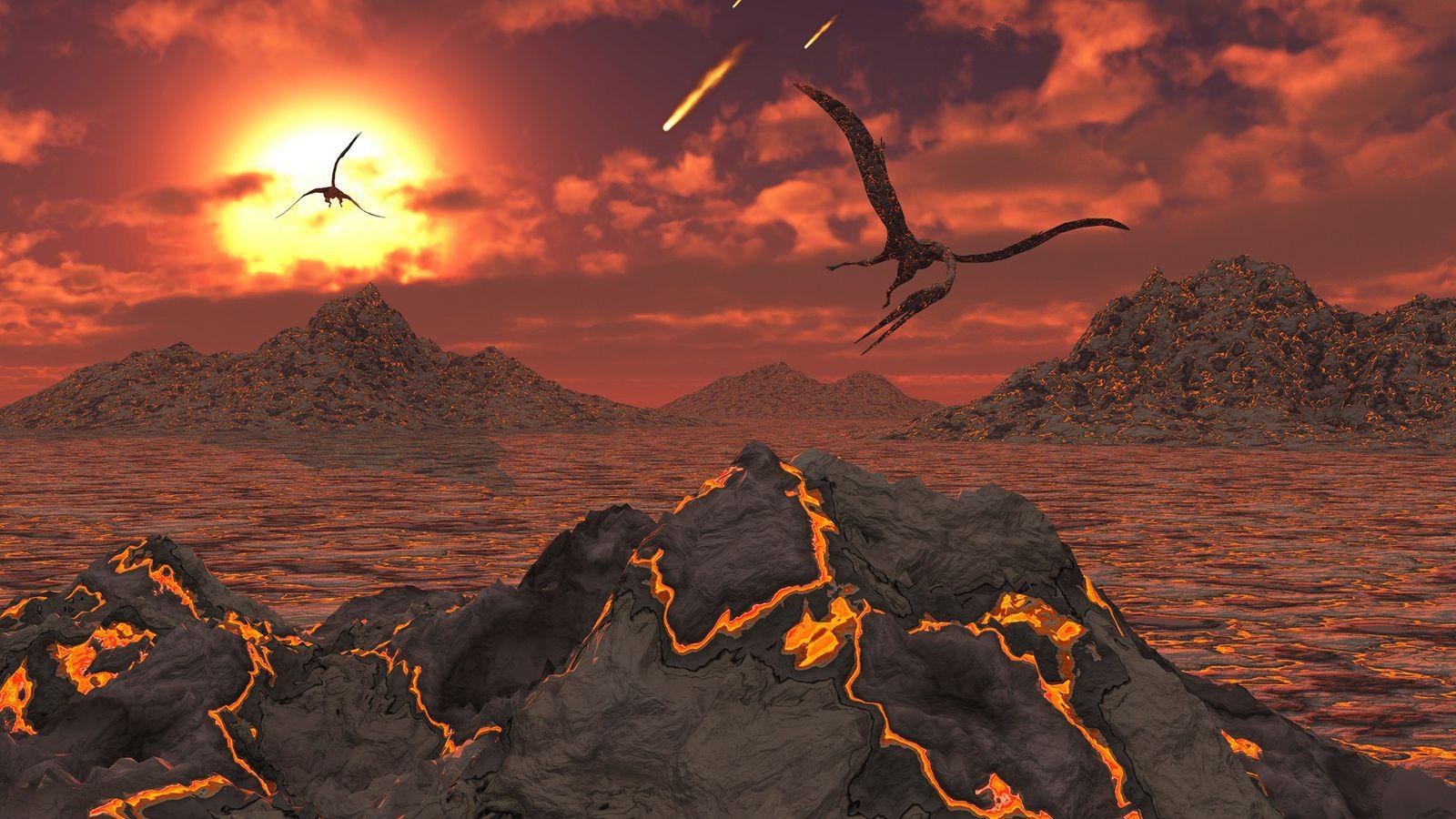 Pterossauros sobrevoam uma paisagem vulcânica durante o evento de extinção em massa que dizimou os dinossauros ...