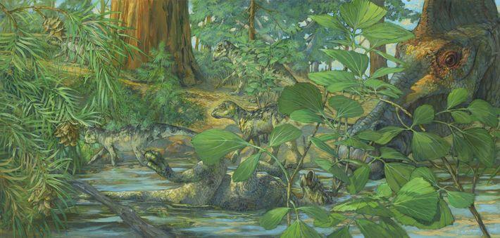 Reconstrução do local de nidificação do Hypacrosaurus stebingeri na formação Two Medicine em Montana. No centro, ...