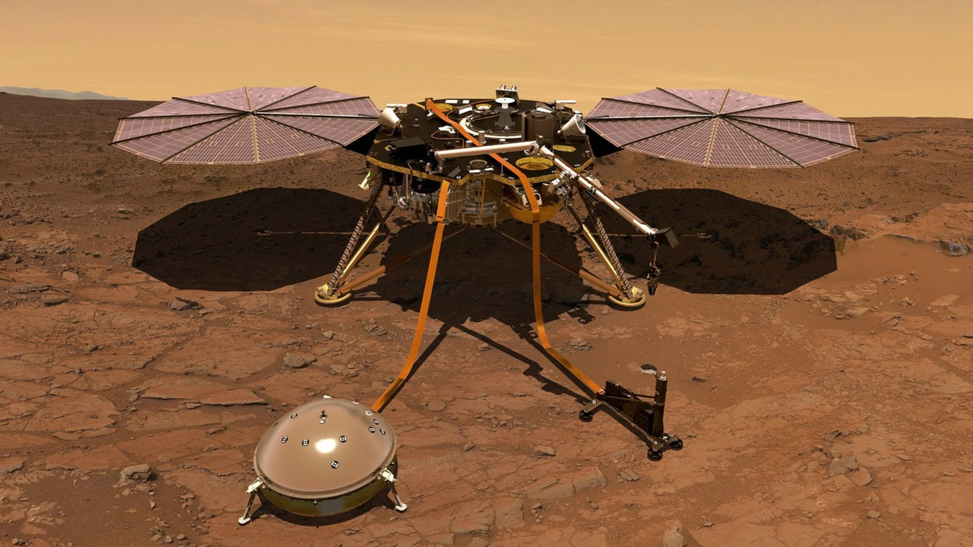 Ilustração exibe o InSight na superfície marciana. Dados preliminares do magnômetro da sonda sugerem que o ...