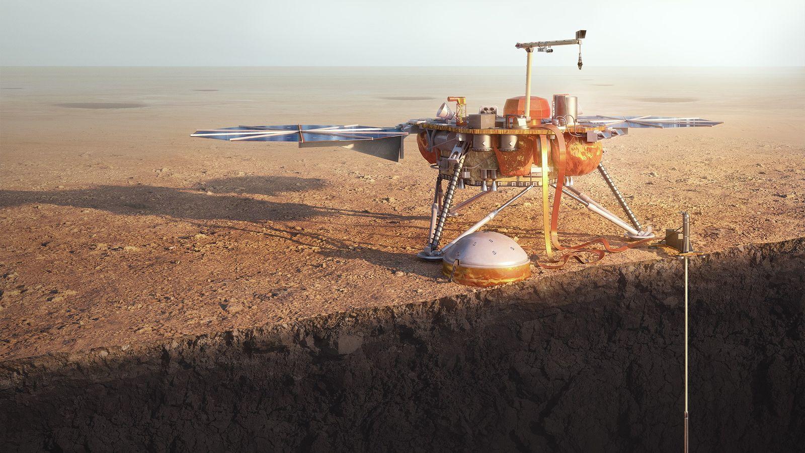 A sonda marciana da NASA, InSight, perfura o planeta vermelho em uma ilustração.