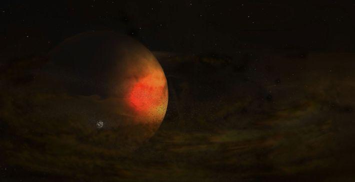 Um leve disco de poeira circunda um planeta grande, possivelmente dando origem a uma nova lua, ...