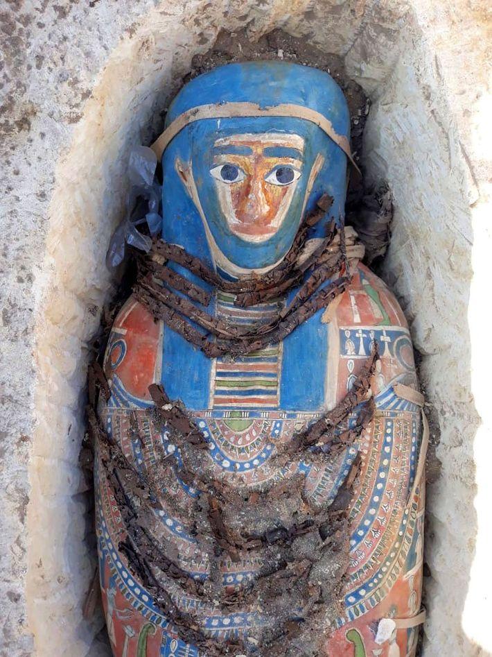 A recente descoberta revelou múmias coloridas com decorações que resistiram durante 2,5 mil anos.