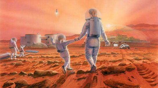 Nesta ilustração, uma família passeia e brinca na superfície de Marte.