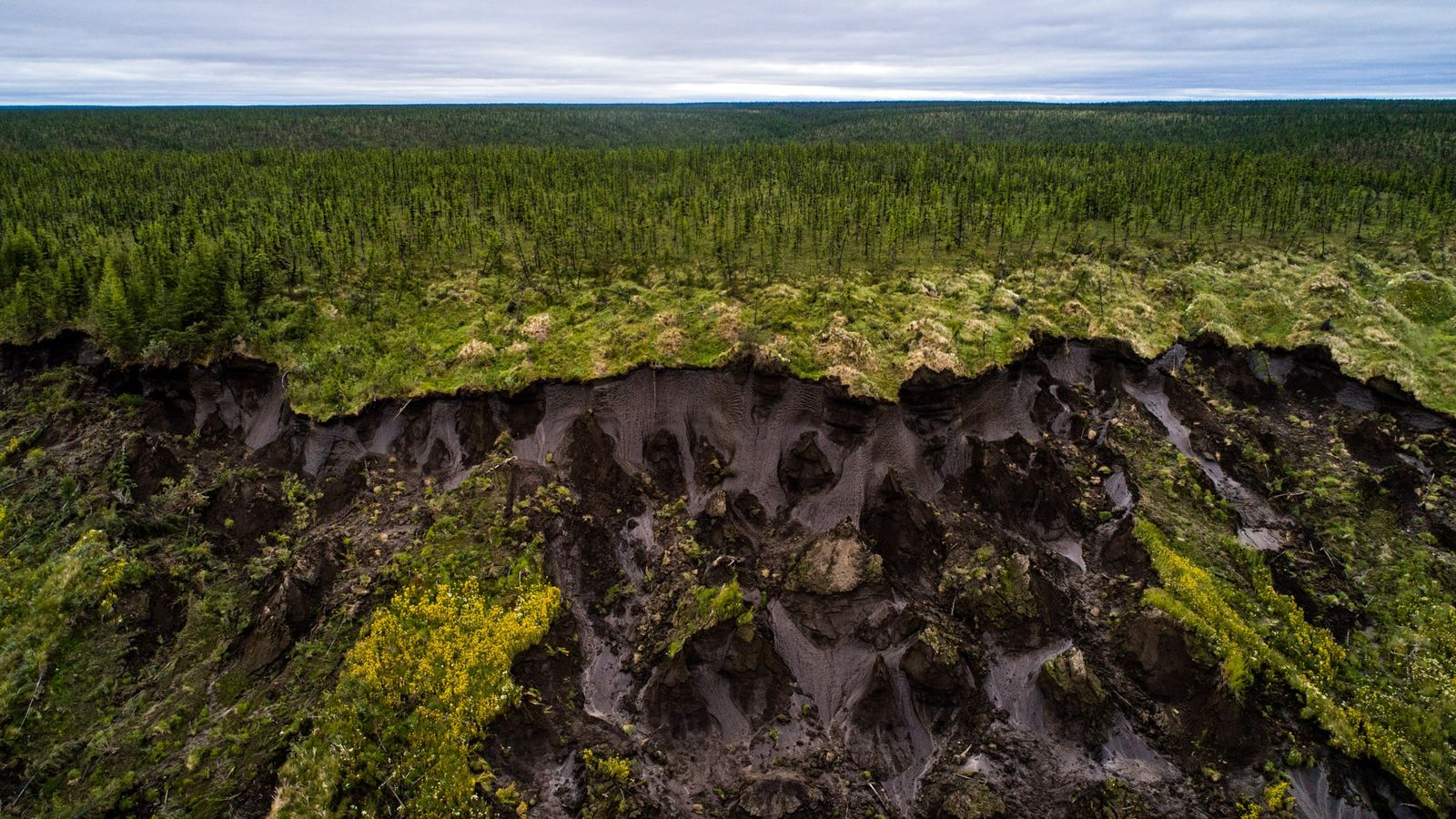 O chão afunda em Duvanny Yar, um megadesmoronamento de permafrost ao longo do rio Kolyma no ...