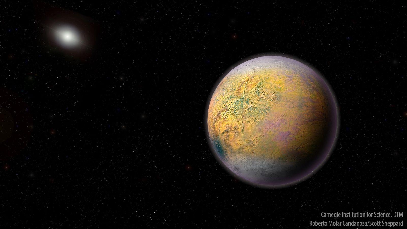 Ilustração do Planeta X, um planeta ainda não visto, que poderia estar moldando as órbitas de ...