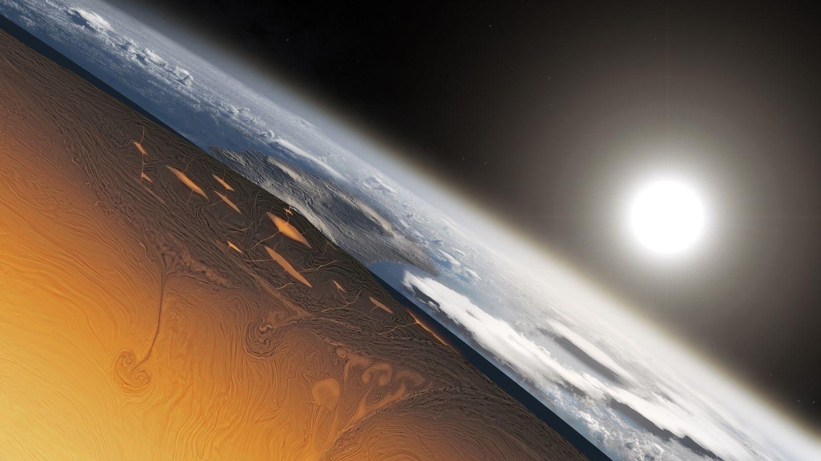 Esta ilustração mostra como seria a aparência de um corte transversal da Terra há mais de ...