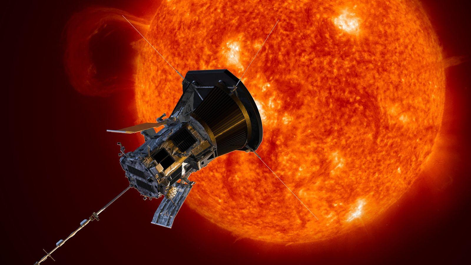 Ilustração da sonda Parker Solar se aproximando do Sol. Lançada em 2018, ela agora é o ...