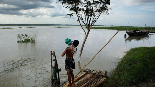 Rio Bramaputra, Bangladesh. Alguns pontos do rio em Bangladesh possuem níveis de antibióticos 300 vezes acima ...