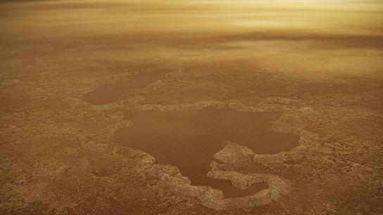 Margens elevadas e amuradas circundam um lago próximo ao polo norte de Titã em uma ilustração. ...