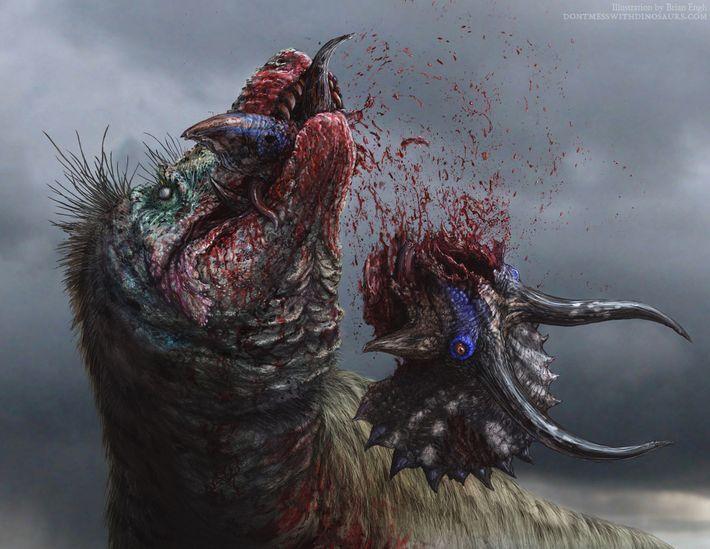 Ilustração exibe o temido T. rex despedaçando sua presa.