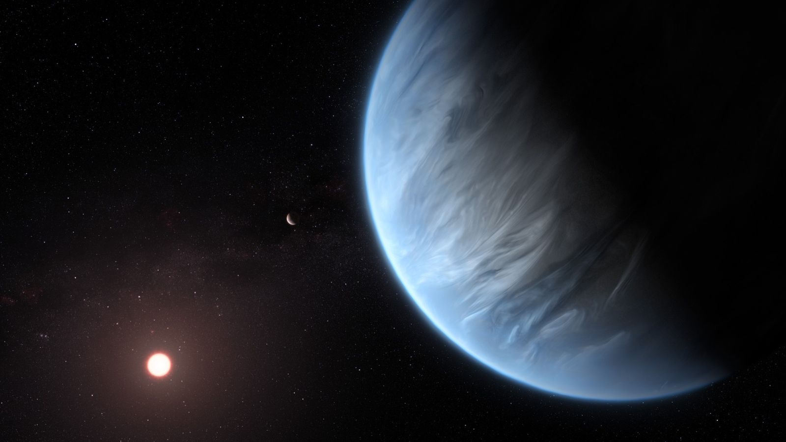 O planeta K2-18b orbita sua fraca estrela vermelha em uma ilustração. Esse exoplaneta é o primeiro ...