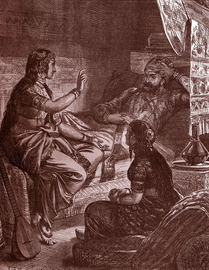 Sherazade cativa o seu marido com histórias de embalar, em As Mil e Uma Noites.
