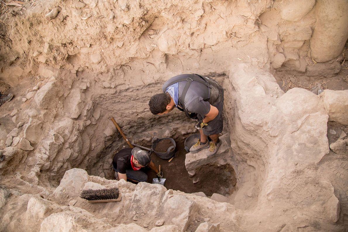 Ao fim da temporada de escavações de 2017, a equipe em el-Araj já tinha atingido vestígios …