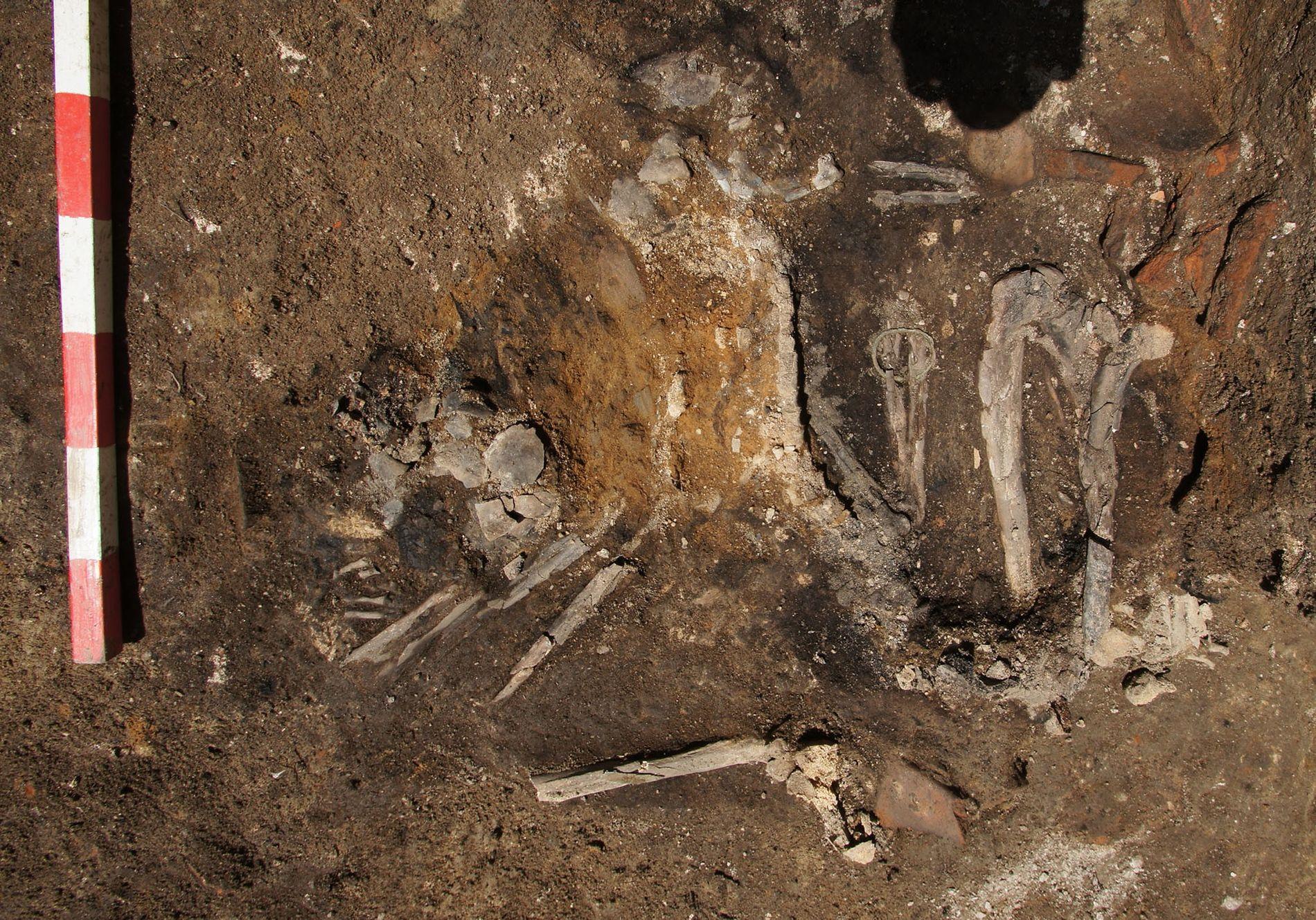 O esqueleto de uma mulher adulta foi encontrado em um antigo piso de 251 d.C. Ele ainda possui uma pulseira de bronze em sua mão.