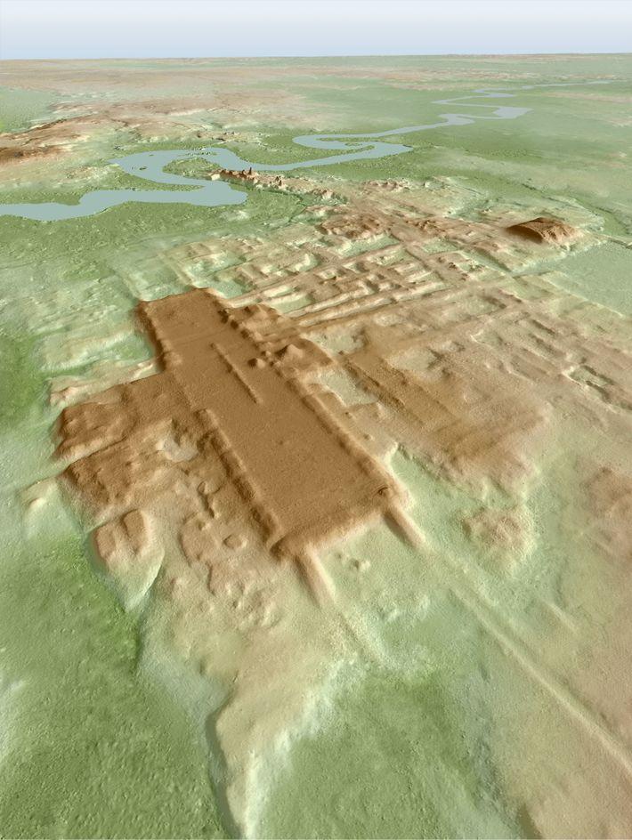 Imagem em 3D da plataforma monumental da Aguada Fénix. A estrutura, construída 3 mil anos atrás, foi ...