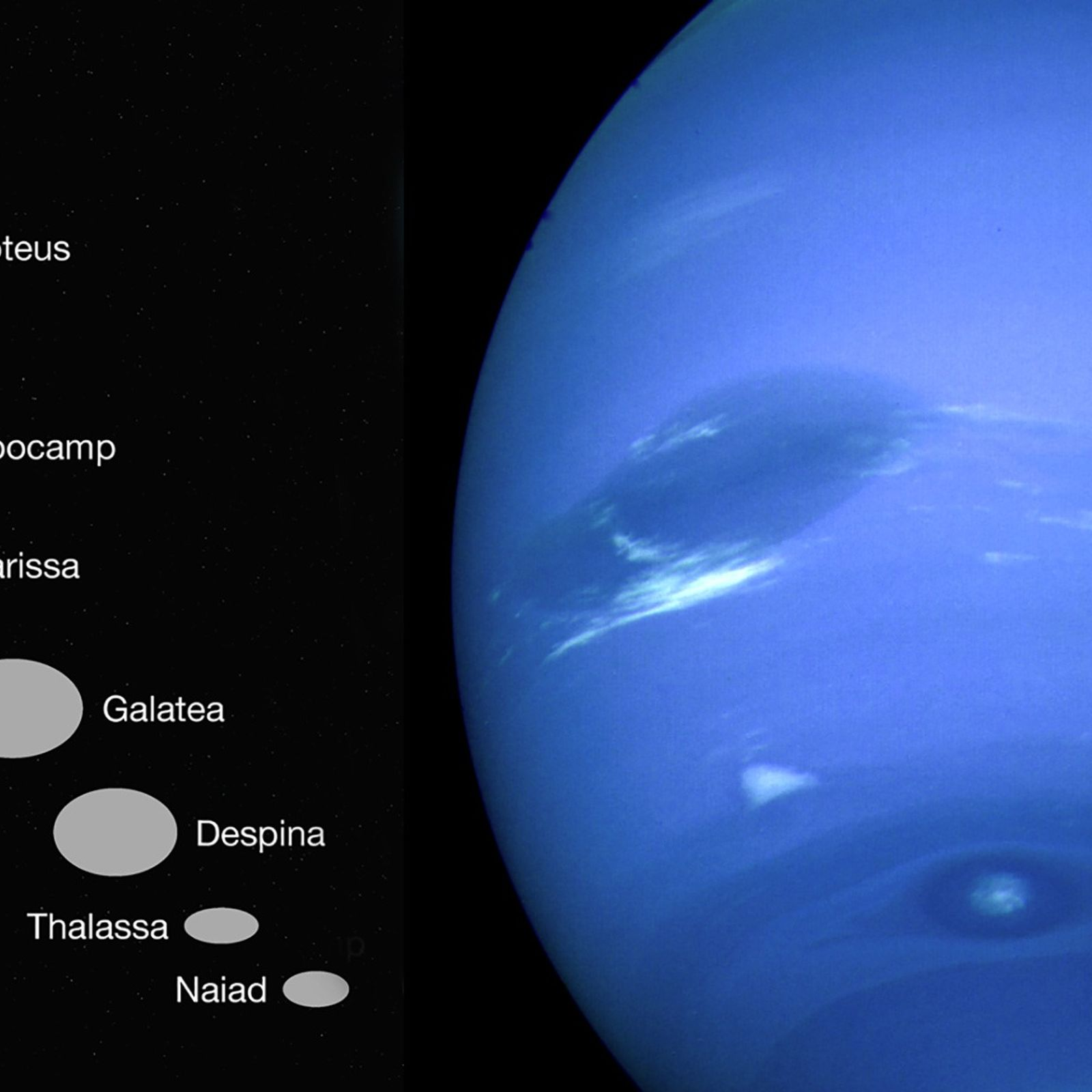 Em 1989, a Voyager 2 passou por Netuno, à direita, e avistou seis pequenas luas próximas, ...