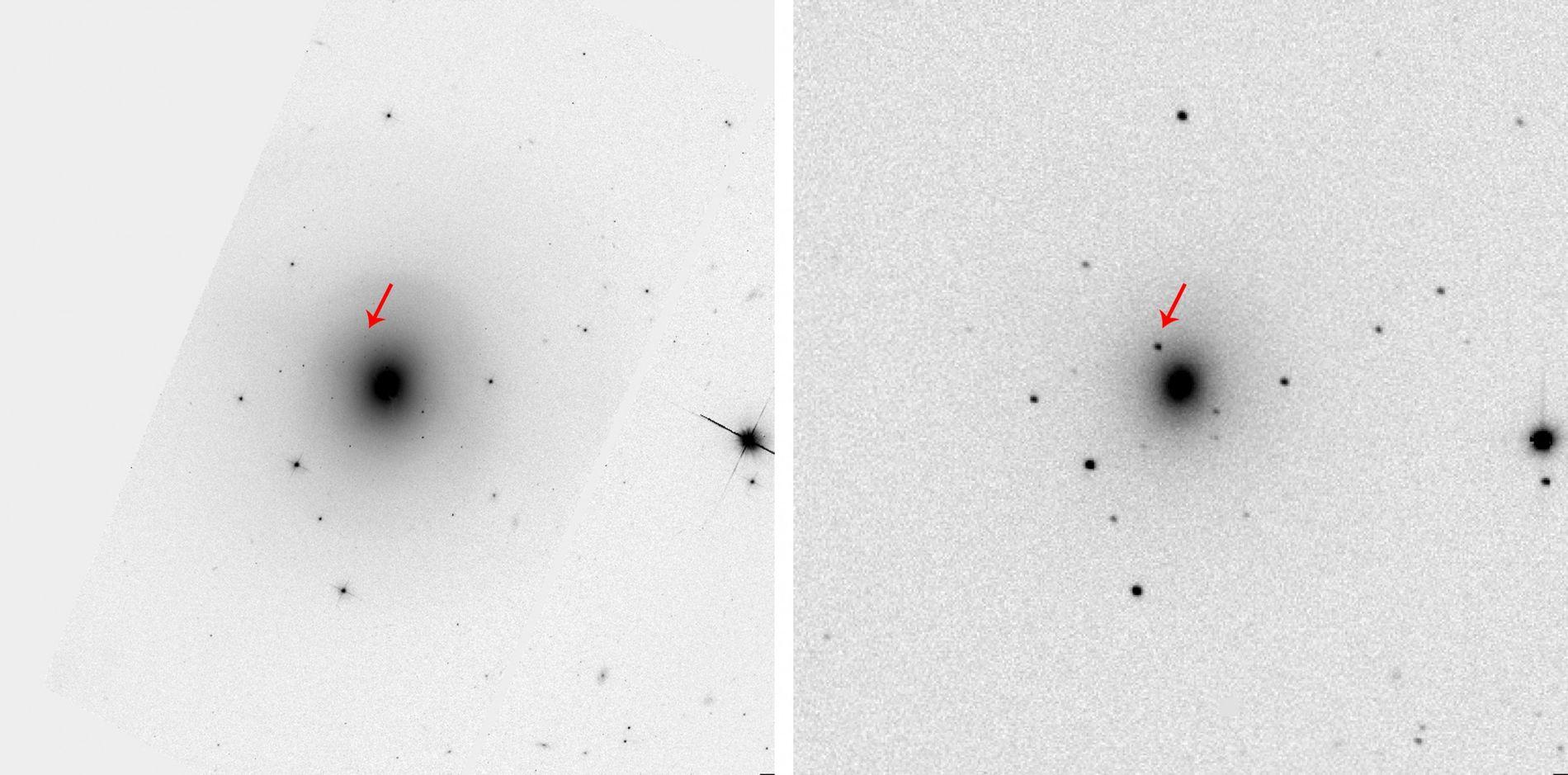 Imagem do telescópio espacial Hubble Space Telescope (à esquerda) mostra a galáxia oval NGC 4993, como ...