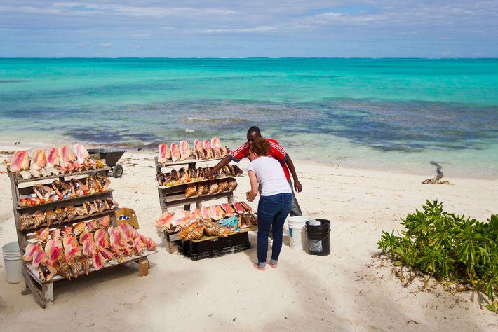 Mulher compra conchas em uma barraca de souvenires na praia, nas Ilhas Turcas e Caicos. As ...