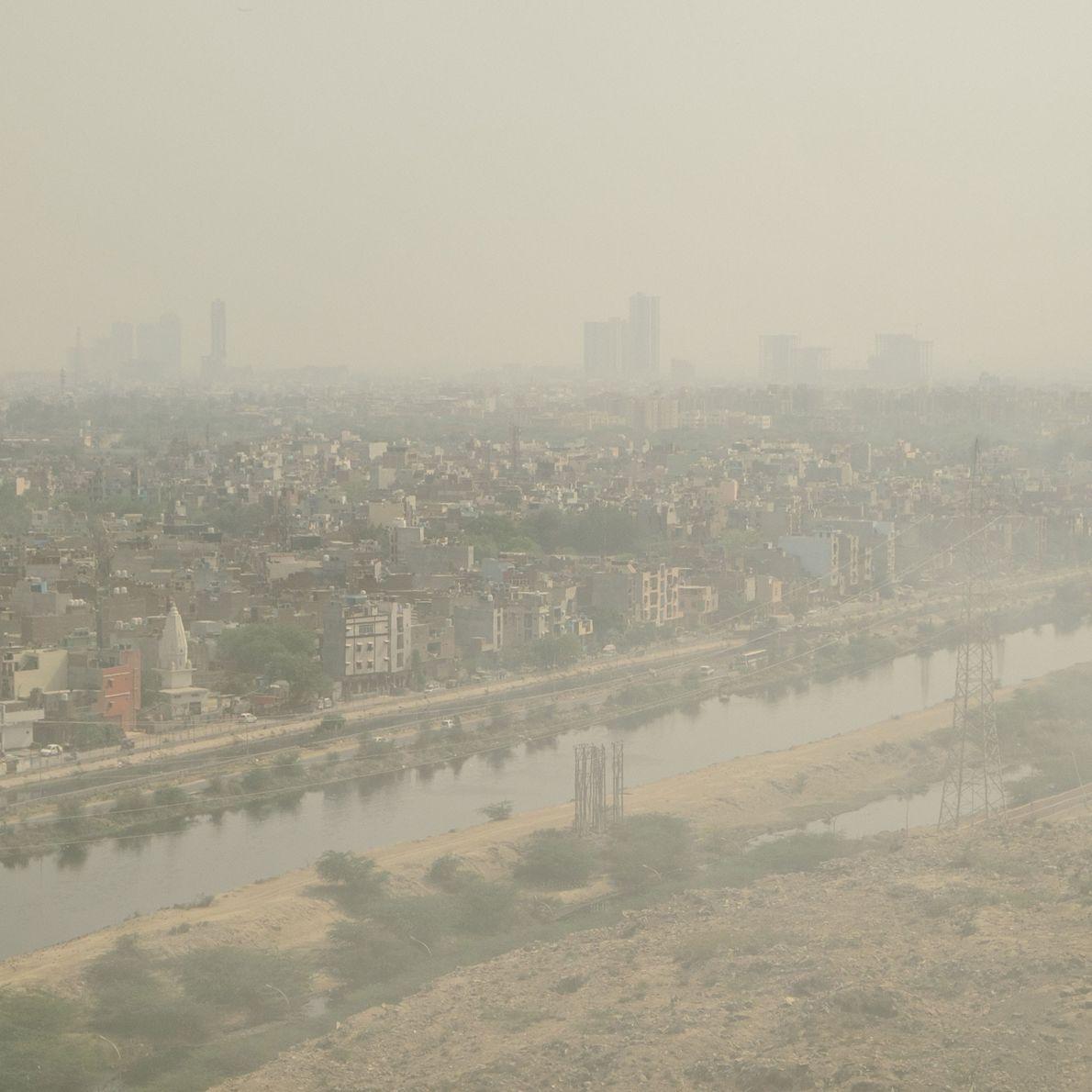 névoa de poluição em Deli