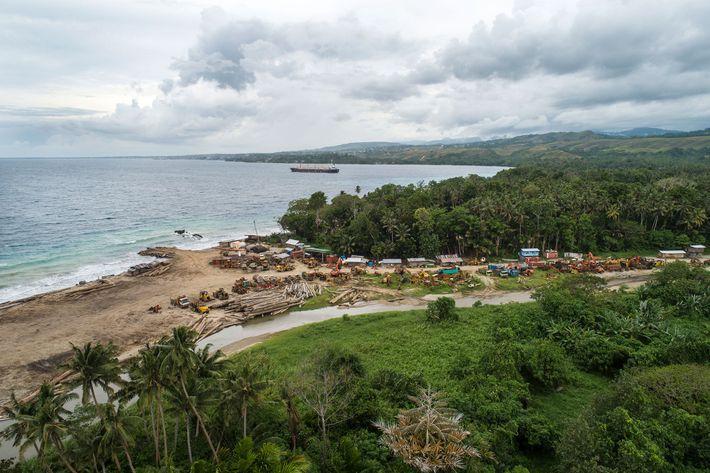 Toras empilhadas na praia, deixadas por uma empresa madeireira. A movimentação de toras e equipamentos em ...