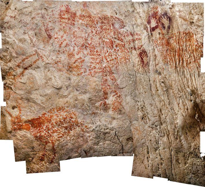 Com uma idade mínima de 40 mil anos, três criaturas semelhantes a vacas são vistas aqui ...